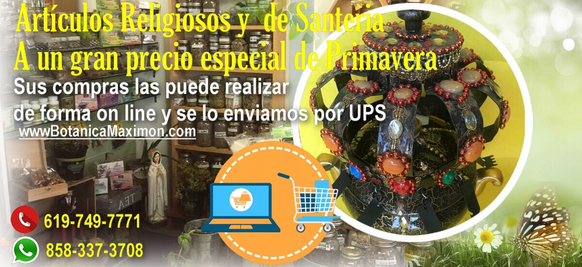 Grandes ofertas primaverales.  Su pedido se lo enviamos mediante UPS. WhatsApp haz click aquí:https://t.co/bQWlMM2oaw  #botanica #maximon #elcajon #california #hierbas #flores #religiosos #castolicos #cristianos #budistas #hiundistas #temedicinal https://t.co/s4aTZkSaXo