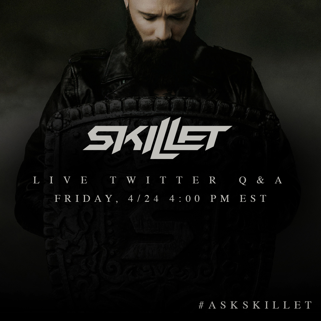 """Tomorrow we're going to be answering your questions on @twitter! See you at 4 pm EST before we release our live video of """"Save Me"""" #AskSkillet https://t.co/dywsFEPGoI"""