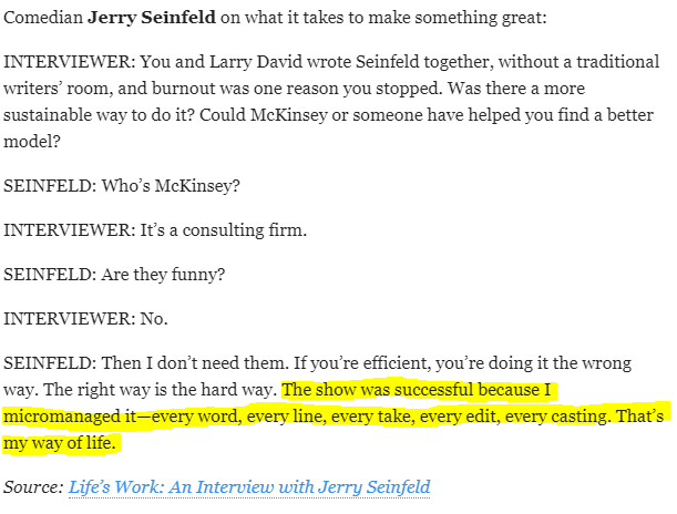 Seinfeld quote shared in @JamesClear's newsletter: