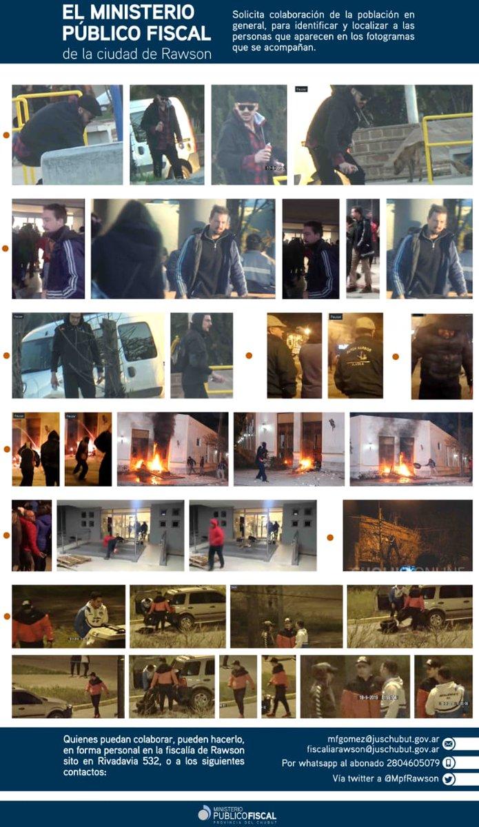 El MpF de la ciudad de RAWSON solicita una vez más a la población, colaboración para identificar y localizar a ciudadanos que se observan en los fotogramas que se adjuntan, las imágenes estan relacionadas con incidentes en Legislatura y Casa de Gobierno. https://t.co/lL1LXguOuh
