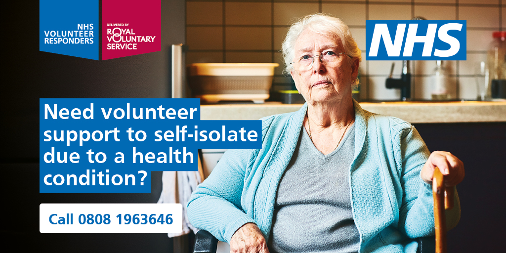 If you, or someone you know is shielding or self-isolating because of #COVID19, you can get support for: 🛒 medicine and grocery deliveries 🚘 lifts to appointments ☎️ check in and chat telephone support For more info, call 0808 1963646 OR Visit: ▶️ nhsvolunteerresponders.org.uk
