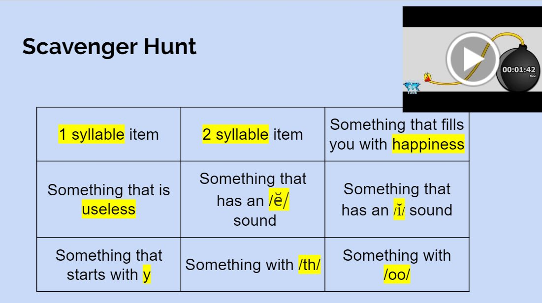 Students loved doing a scavenger hunt activity during our dyslexia intervention zoom session.