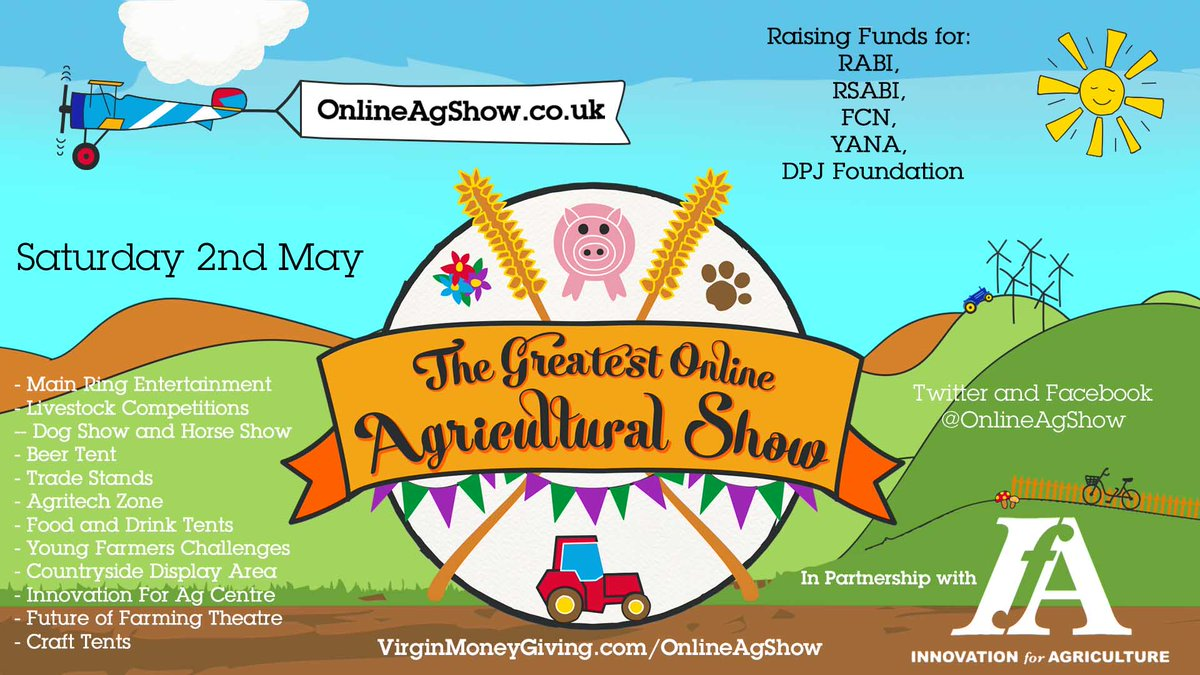 The #GreatestAgShow is a show for all and it will work better, the more people join in. Please could you retweet this as far and wide as possible, esp outside the agri world.    We welcome trade stands for the show in return for a charitable donation. Please see the below. https://t.co/GA67vPnygP https://t.co/7f2n6buD5q