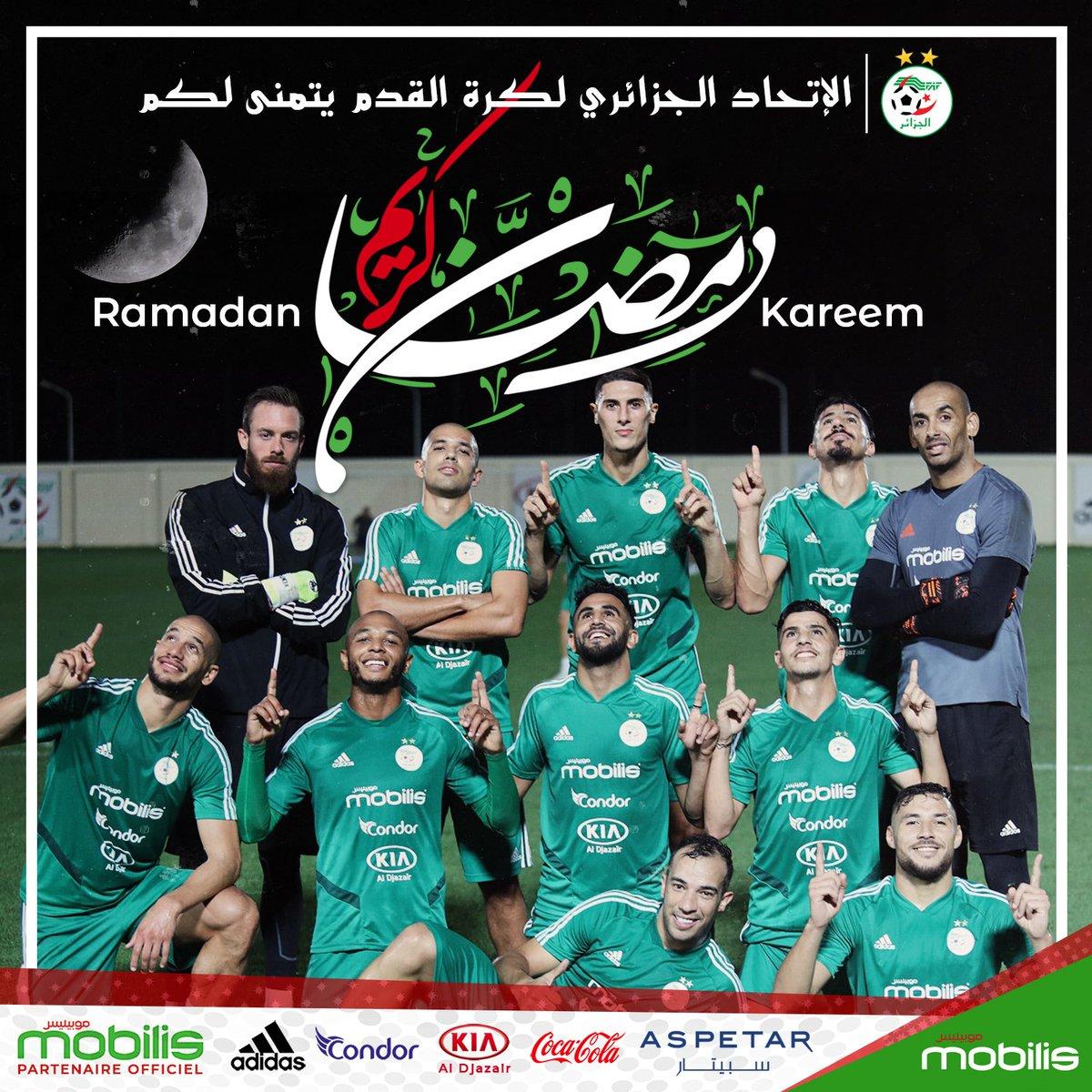 الإتحاد الجزائري لكرة القدم يتمنى لكم  #رمضان_كريم وكل عام وأنتم بخير  #LesVerts⭐⭐ #TeamDZ #LesFennecs #123VivaLAlgerie🇩🇿 https://t.co/c72Ijpcnba