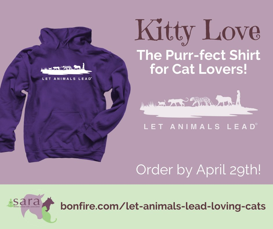 Have you seen the new Kitty Love t-shirts from @SARA_news ?  This shirt is a fun way to thank and honor our cats for the love and support they so freely offer! https://www.bonfire.com/let-animals-lead-loving-cats/ … #LetAnimalsLead #CatsOnTwitter #FelineLovers #CatShirtspic.twitter.com/8DrL0vJACG