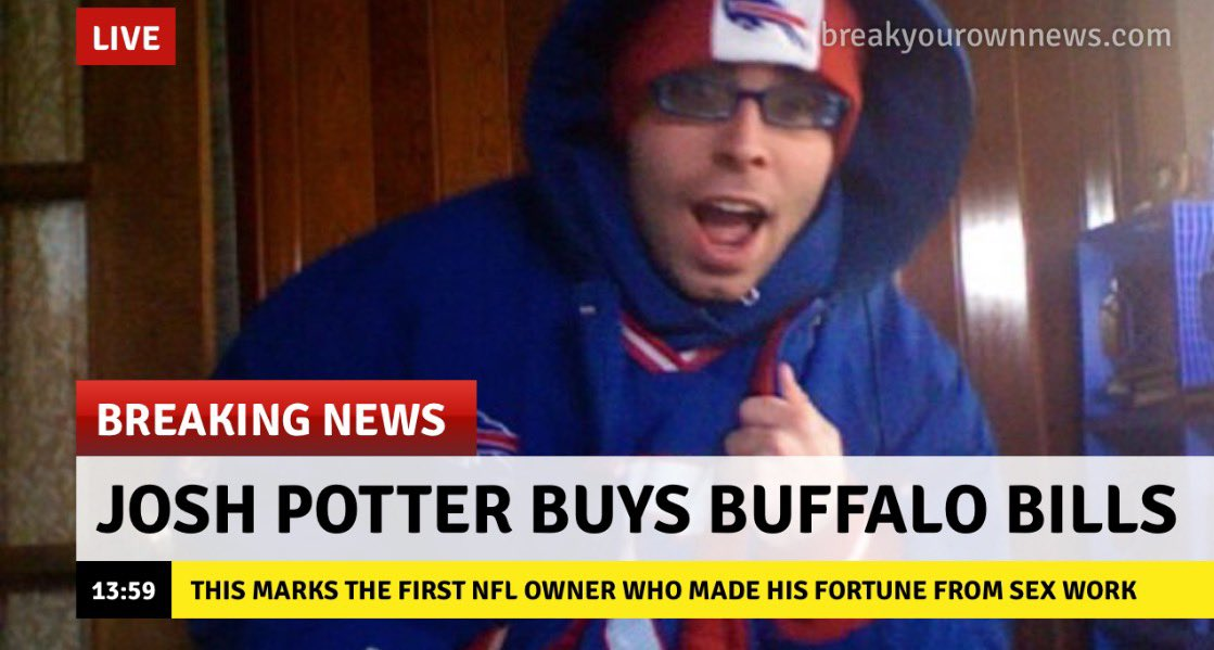 Josh Potter On Twitter Breaking I Am The First Sex Worker To Own An Nfl Team Be A Part Of The New Era Https T Co Lc90zvjhaq Right After The Nfl Draft Tonight Https T Co Yzxzid5lya Want to contribute to the show? josh potter on twitter breaking i am