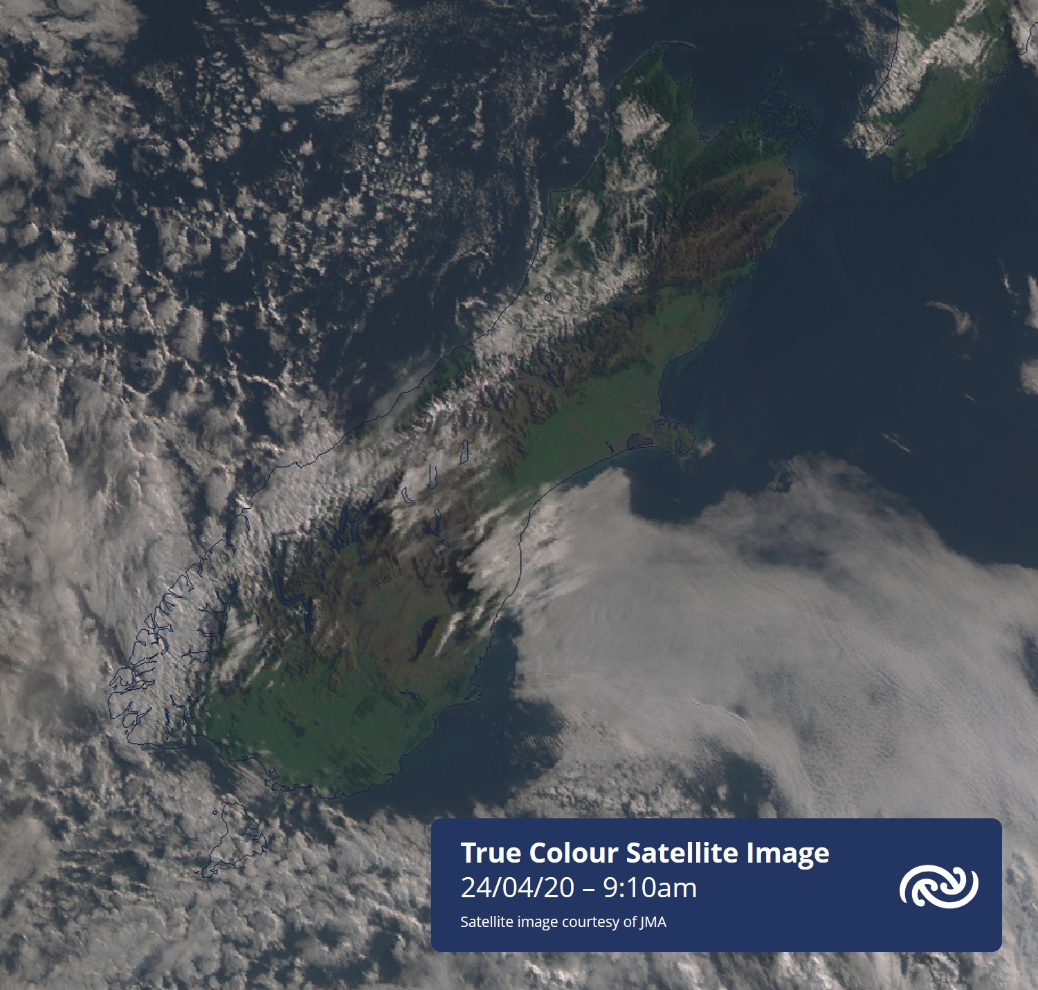 Largely glorious day across the South Island. A bit of mid-high cloud over North Otago (you can see the shadows), and some flat looking low stratus offshore Canterbury. West Coast will see the odd light shower interrupting blue skies. metservice.com for details ^RK https://t.co/gJriLEQfAp