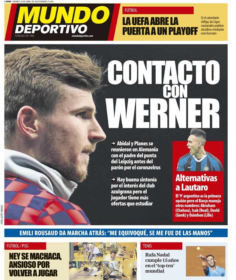 Première page du Mundo Deportivo