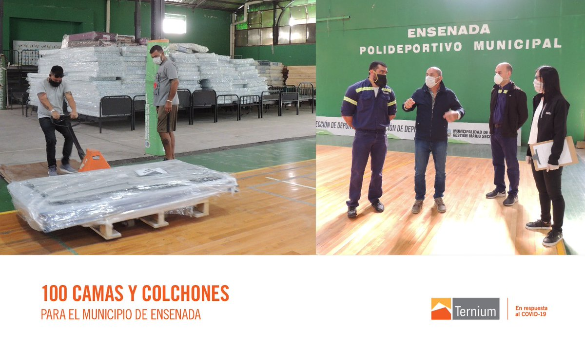 #Presentes en Ensenada. Hoy entregamos 100 camas y colchones destinados a pacientes de baja complejidad que se alojarán en un Polideportivo próximo a inaugurar en Punta Lara. #COVID19 https://t.co/rtdJINwJMA