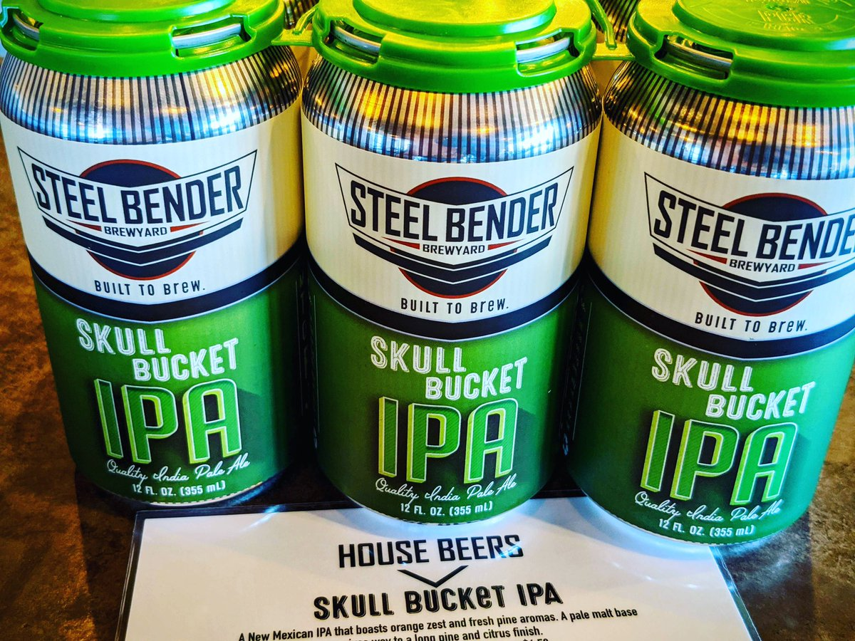 Skull Bucket IPA. Because it protects your noggin' in this spring wind (not sure how, but hard hats work hard). Back in cans and available to order on our website 11:30 a.m. - 6:30 p.m. ⠀⠀ #DrinkAtHome #strongerthansteel #builttobrew #supportlocal #staystrongNM  #NMBeerLove https://t.co/7sUtfBbvK9