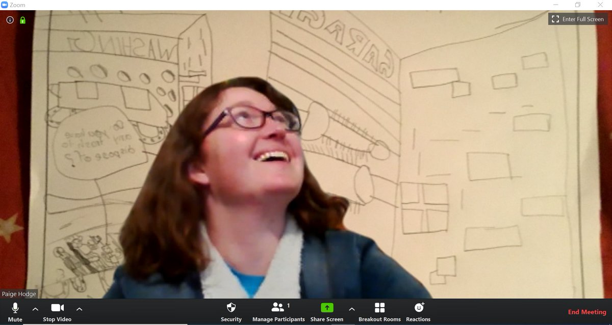 Using student submitted drawings as my background during our zoom book club session.
