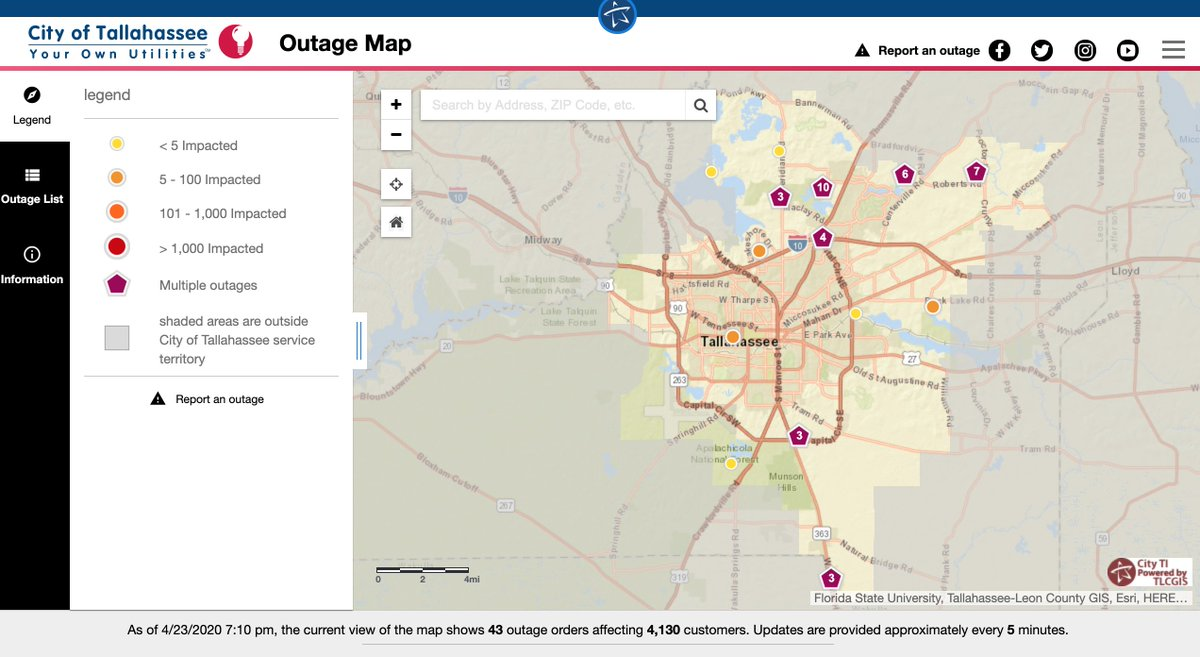 Talgov Power Outage Map City of Tallahassee na Twitteru: