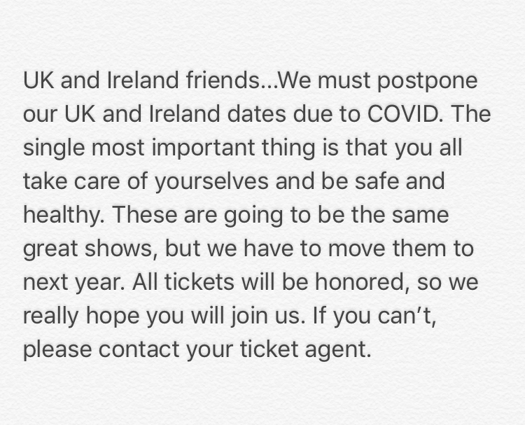 A note about our UK and Ireland dates.