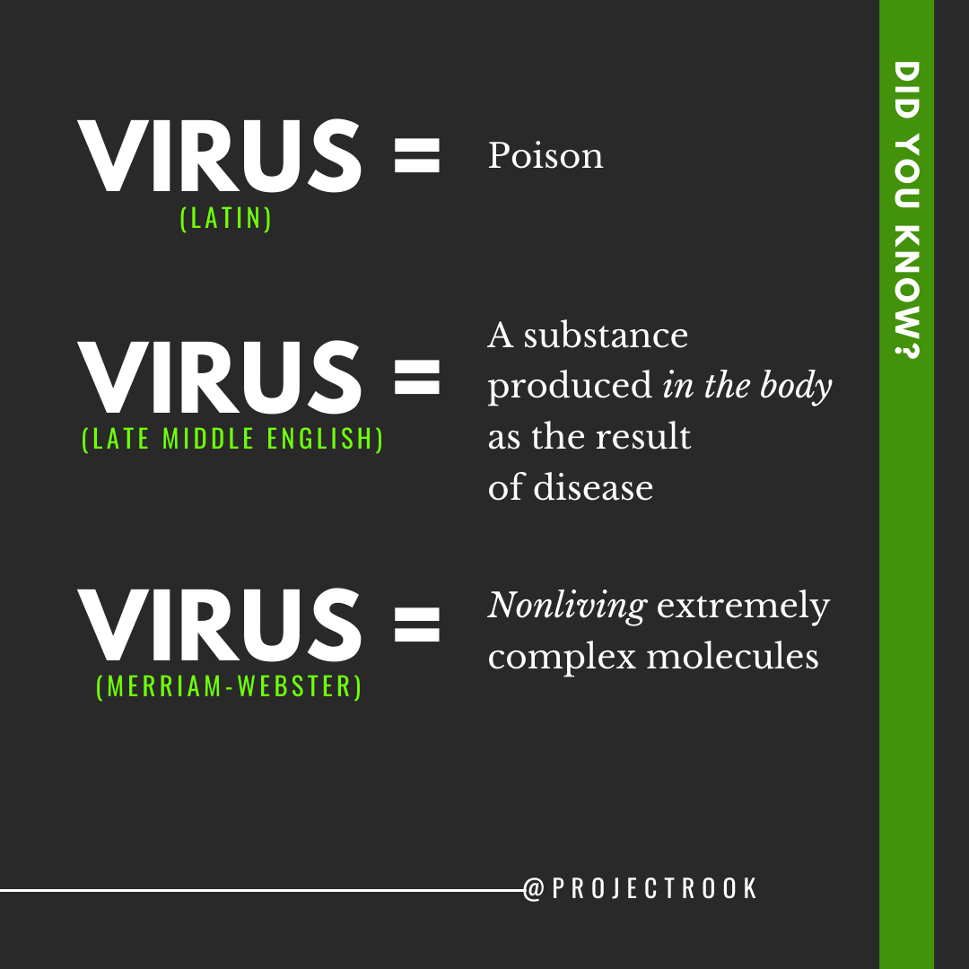 Step#1 in waking tf up is studying word language specifically the origin of words vs how they're currently being used. U should ask yoself how da hell the definition of a virus evolved to b a living organism floating around on the loose threatening your very existence..or did it?