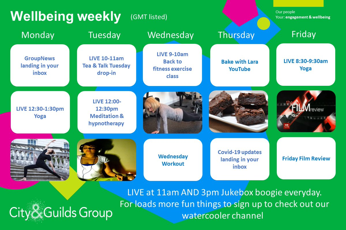 Weve launched a Wellbeing weekly schedule for our colleagues. From baking to yoga, films to back to fitness classes, weve pulled together some great classes and free resources. Just because were at home doesnt mean we cant be active and stay connected.