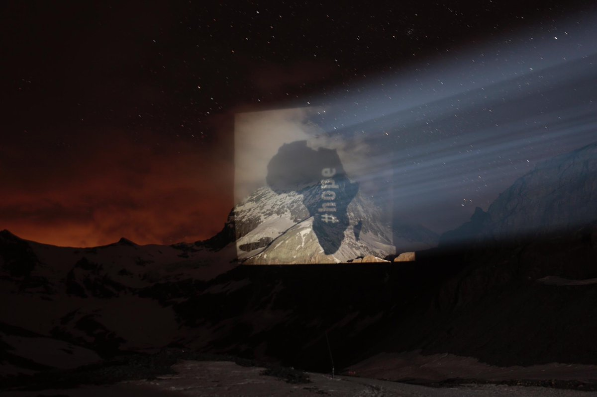 The iconic Matterhorn mountain shines in #solidarity with the people of South Africa🇿🇦. Message of #hope #strenght #courage #patience #resilience from the people of Switzerland🇨🇭#covid19 #LockdownSA #StayAtHomeSA 🙏 🇨🇭light artist and innovator #gerryhofstetter