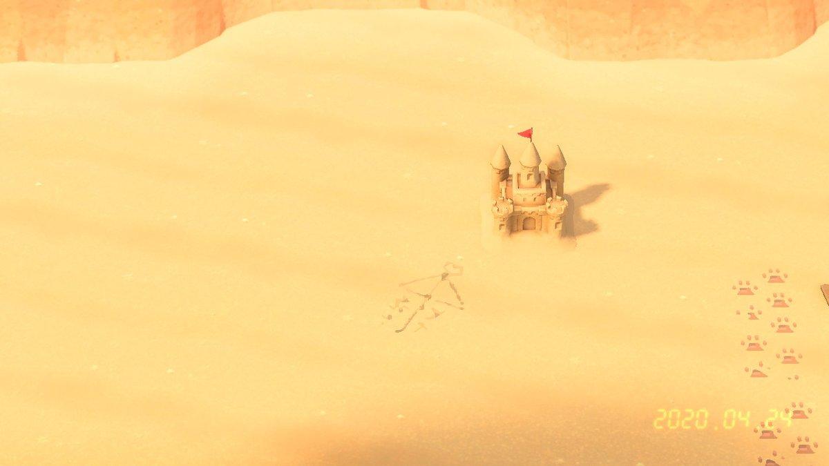 砂の上に描いた相合傘だよ~ #どうぶつの森 #マイデザイン