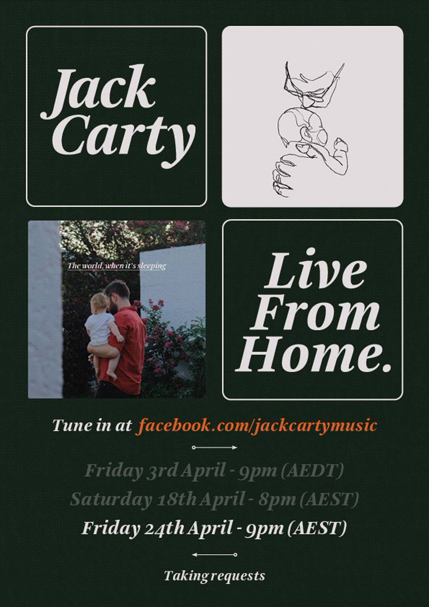 """Photo from Jack Carty Last of these live streams tonight to celebrate todays launch of """"The World, When It's Sleeping"""" 🎉  See you at 9pm 🕺 https://t.co/VMRsve0f86"""