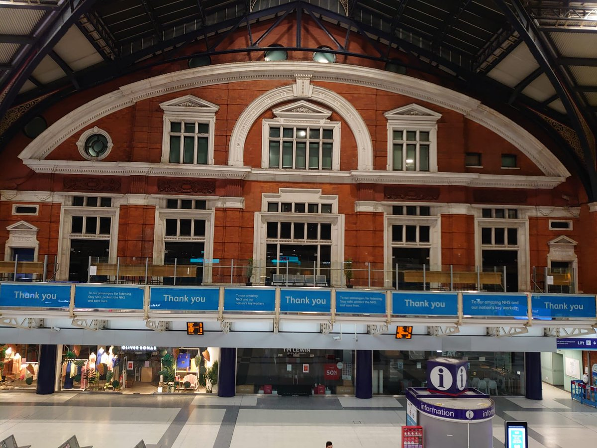 Thank you, thank you, thank you! Liverpool Street station has turned very blue with lots of thank yous ❤a lovely touch by @NetworkRailLST please only make essential journeys and follow guidelines on keeping safe whilst travelling.