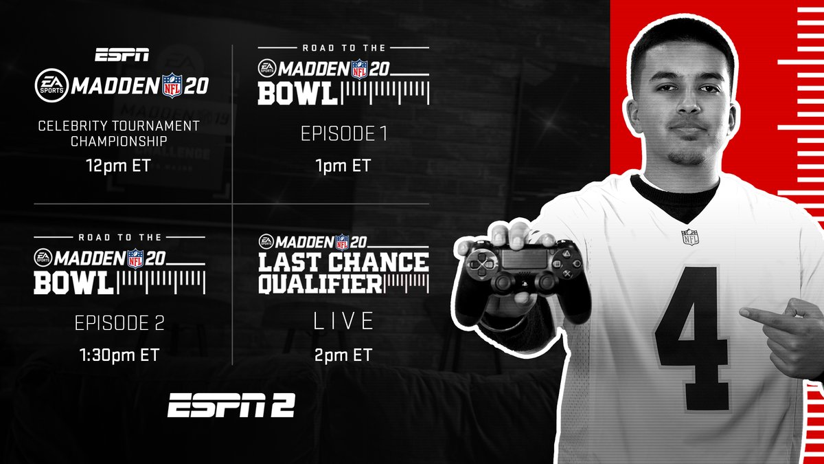 Tune-in this Sunday to catch some #Madden20 action on @ESPN 2 🗓️: Sunday, 4/26 📺: ESPN 2 ⏰: 12-2pm ET