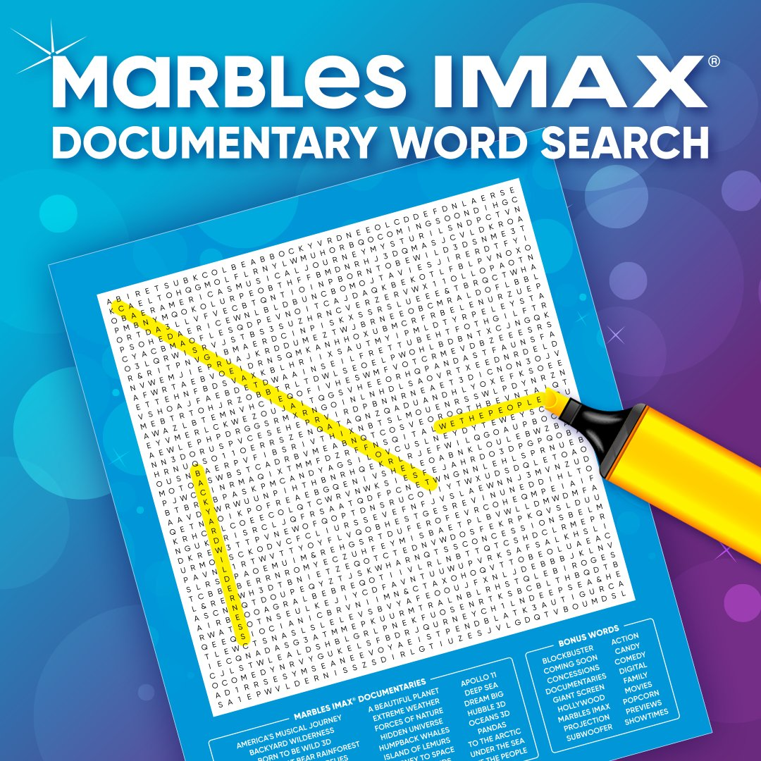 Are you up for a challenge?  Test your Marbles documentary knowledge in a fun word search. Find all the documentaries, take a photo and post it on social media. Tag us for a chance to win 4 passes to any documentary at Marbles!  Find a PDF version here - https://t.co/4tthp0Ltb6 https://t.co/VHBcBQSjOs
