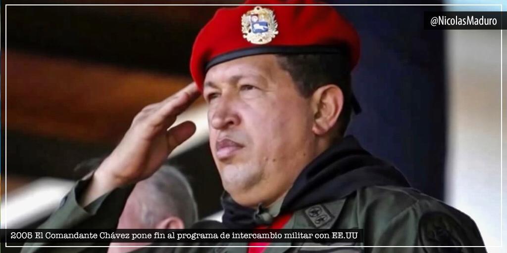 Se cumplen 15 años de la decisión soberana de nuestro Comandante Chávez que puso fin al intercambio militar con EE.UU. Venezuela es y será por siempre una Patria Libre de injerencias y tutelas imperiales, con una honorable #FANB leal a los intereses del pueblo.