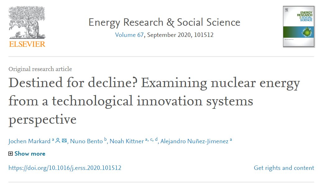 "Thanks for reading! If you have arrived at the end, then you are interested enough in having a look at the whole paper!Let me know if you hit a paywall!""Destined for decline? Examining nuclear energy from a technological innovation systems perspective"" https://doi.org/10.1016/j.erss.2020.101512"