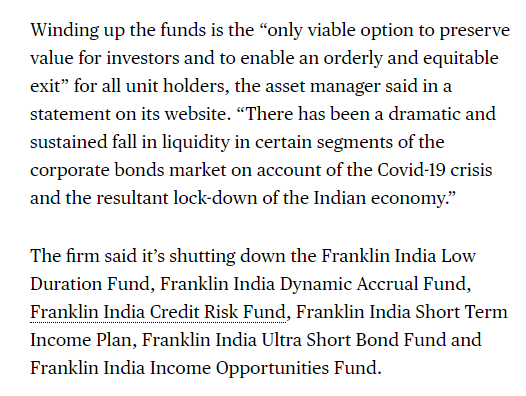 Eric Balchunas On Twitter Franklin Templeton Is Halting Investor Redemptions On Some Mutual Funds In India W 4 1b In Aum The Biggest Freeze In Country S History This Adds To The 76 Mutual