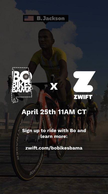 Join me as I ride with @bojackson on @gozwift for #BoBikesZwift this Saturday at 11AM CT. There are fundraising opportunities to raise money for Bo's cause where Zwift will MATCH funds up to $10,000. Check out the ride and more info: https://t.co/B04BkGomAj https://t.co/m0CEdPism1