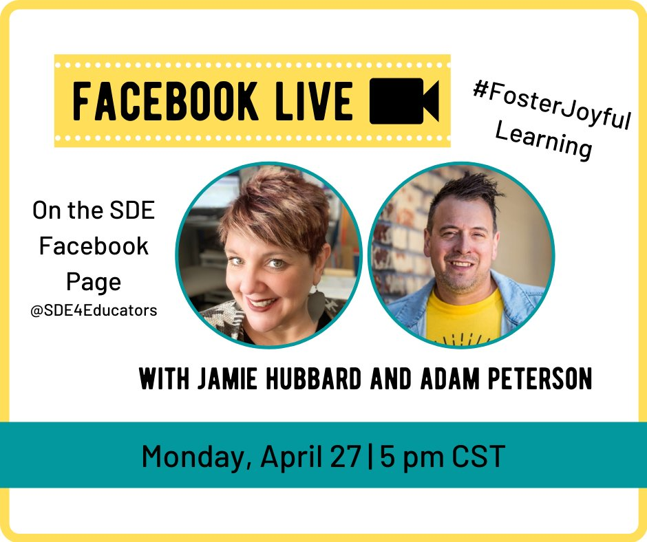 Mark your calendar for a #FosterJoyfulLearning Facebook Live on Monday, April 27!  @teacherslearn2 will be joined by Jamie Hubbard and we guarantee this will be packed with laughs and fun activities!<br>http://pic.twitter.com/96eD6VHY0y