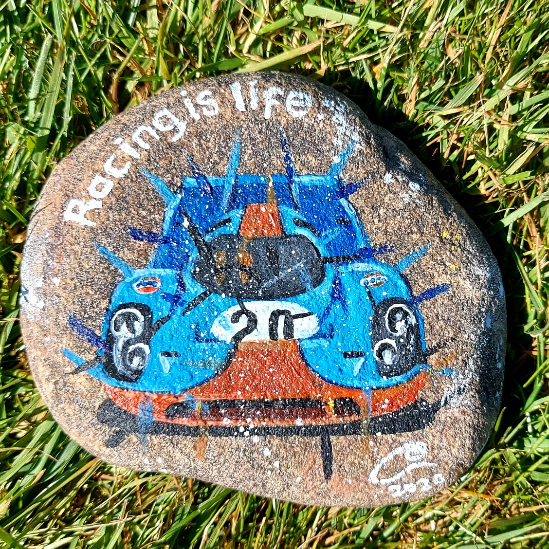 I just made rocks better!!! With my #RockdownLockdown rock painting of #SteveMcQueen's #LeMans @Gulf_Racing @Porsche 917k! I'll give it away to anyone who follows and retweets using the hashtag #MakingRocksBetter https://t.co/Vj6dZcB6yb