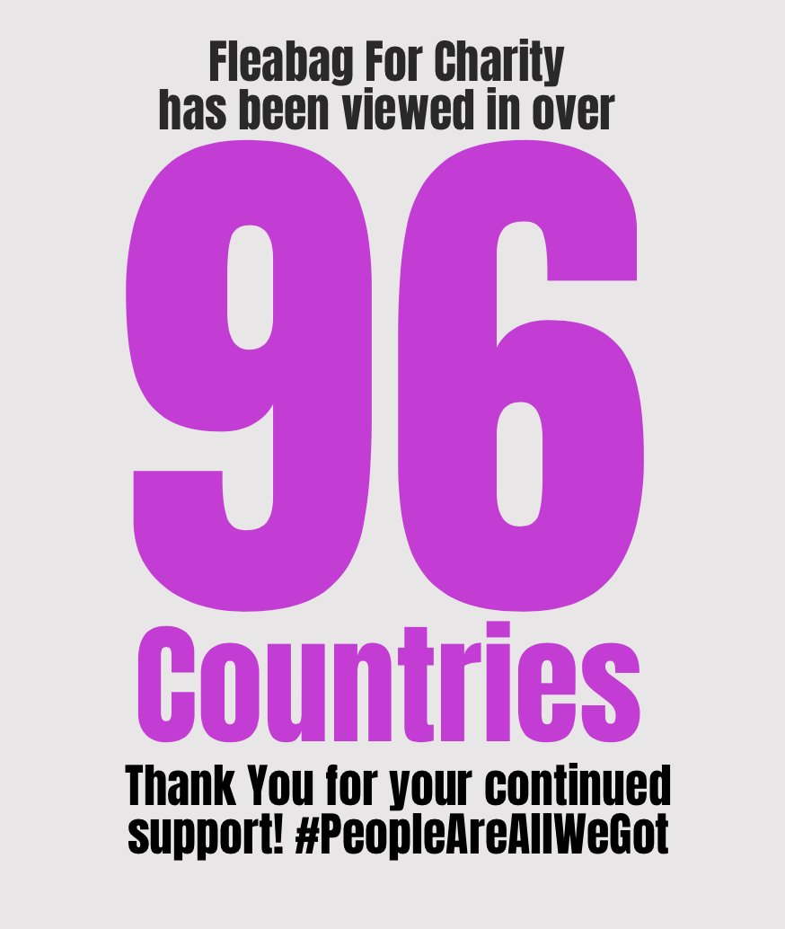 FLEABAG @NTLive has been viewed in over 96 countries since we launched #fleabagforcharity #peopleareallwegot