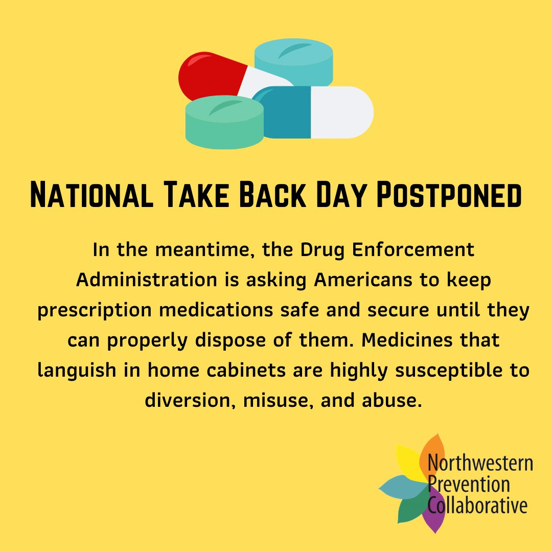 Because of the current coronavirus pandemic, DEA postponed the 2020 Spring Take Back Day, originally scheduled for April 25, 2020. DEA will reschedule Take Back day for a date shortly after the health crisis recedes and national emergency guidelines are lifted. #Everyonehasarole https://t.co/7zFTup7zVG