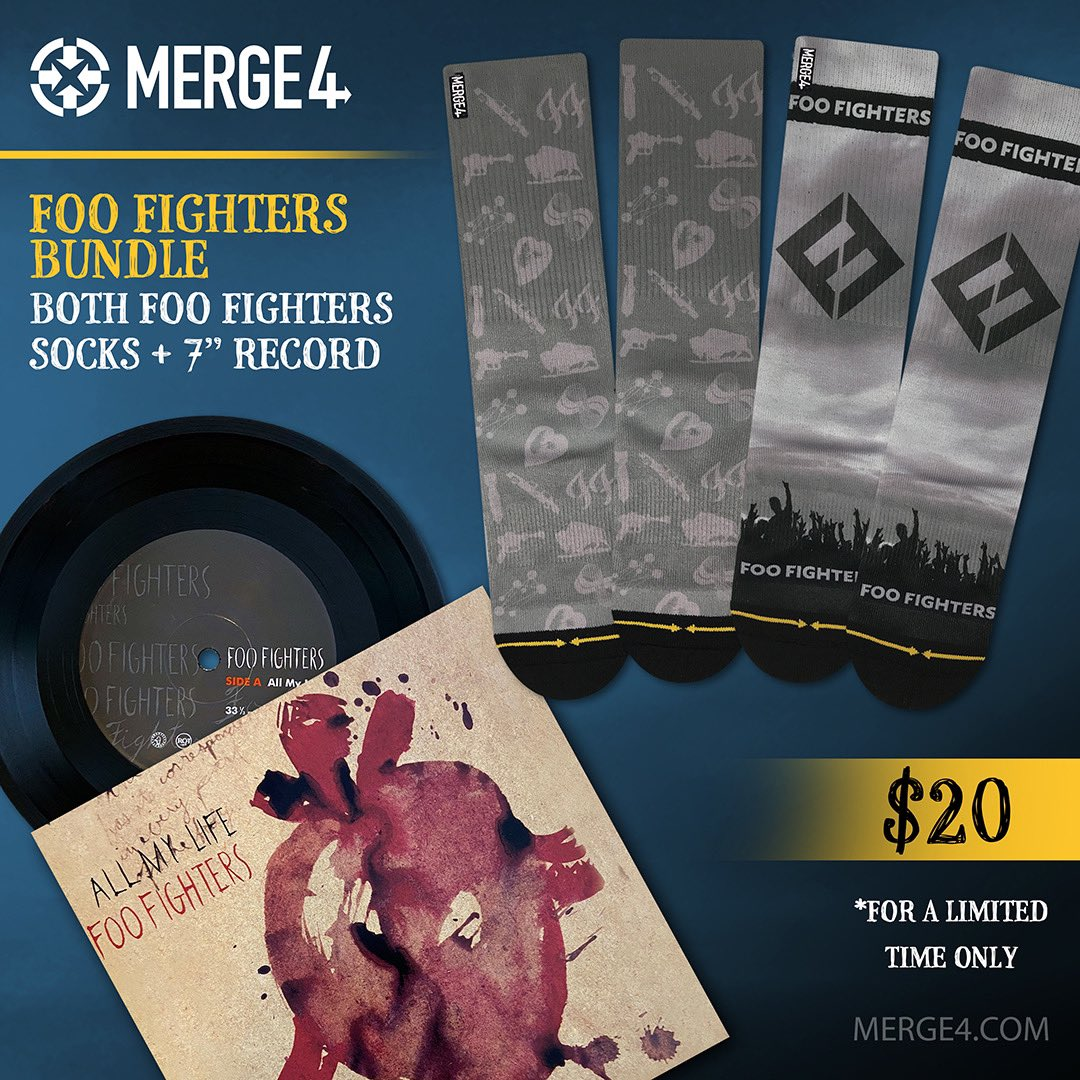 "Calling all @foofighters fans! This is a deal not to be missed! Snag both of MERGE4's Foo Fighters socks PLUS a 7"" record of All My Life for just $20!⁣ Don't miss out on this special bundle! ⁣  https://merge4.com/products/foo-fighters-bundle …   #foofighters #foofightersconcert #foofighter #rockvinyl pic.twitter.com/QqB4OhBTB4"