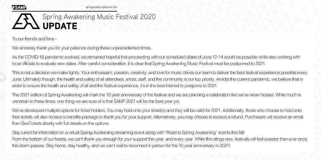 Spring Awakening 2020 has been canceled