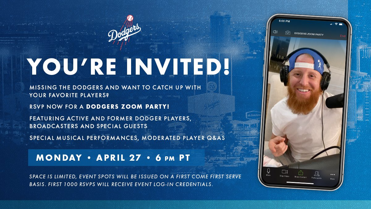 Los Angeles Dodgers On Twitter You Re Invited To The Dodgers Zoom Party Catch Up With Dodger Players Broadcasters And Special Guests The First 1 000 Rsvps Will Be Accepted Sign Up Now Https T Co A72o2qwlnj