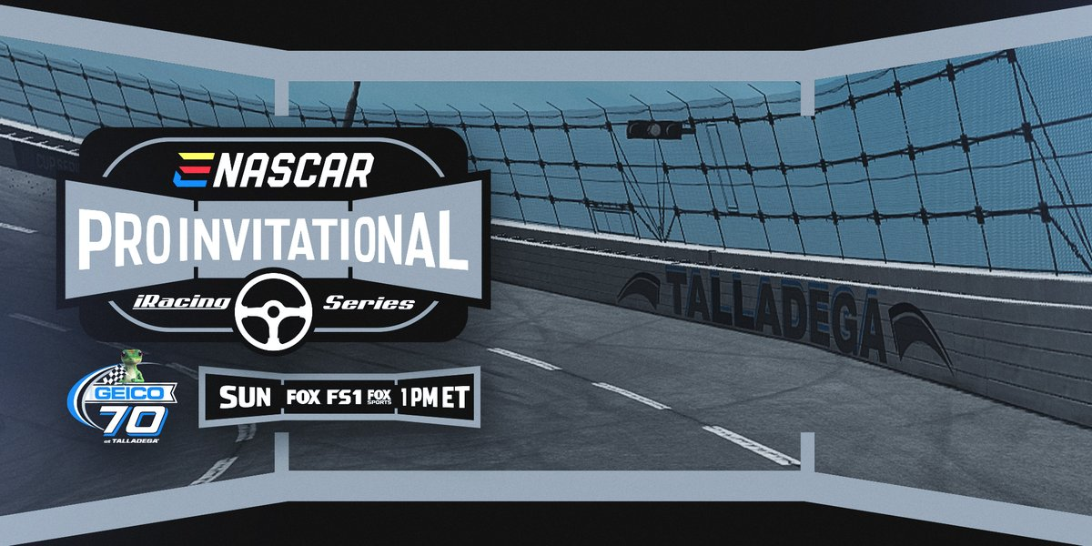 Today the #eNASCAR Pro Invitational Series takes to the high banks of virtual @TalladegaSuperS! Catch all the action at noon (CT) on FOX, FS1, or the Fox Sports App.