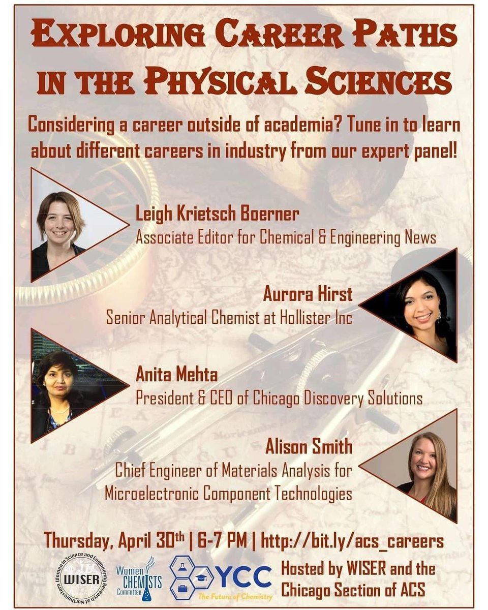 Hey, #chemtwitter! Check out our upcoming career panel! RSVP at bit.ly/acs_careers to receive an invite to the virtual event. #WISER #ACSChicago #YCC #WCC @ChicagoACS