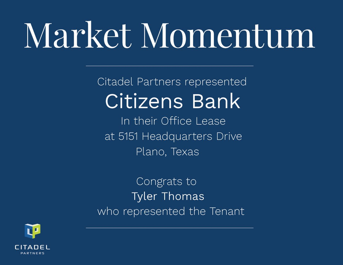 test Twitter Media - Congratulations to Tyler Thomas who represented Citizens Bank on their Office Lease Transaction.  #CitadelPartners https://t.co/M657LjifBP