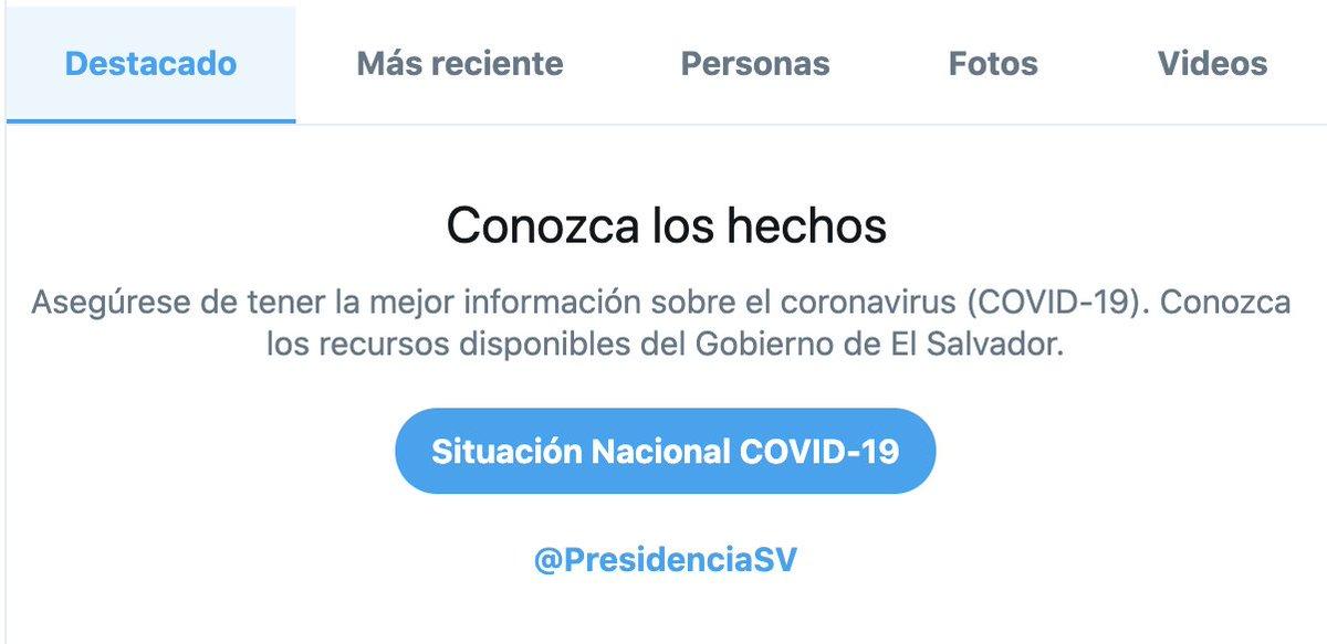 Gracias a la colaboración de @PresidenciaSV ahora los avisos de búsqueda sobre COVID-19 también han sido localizados en El Salvador.