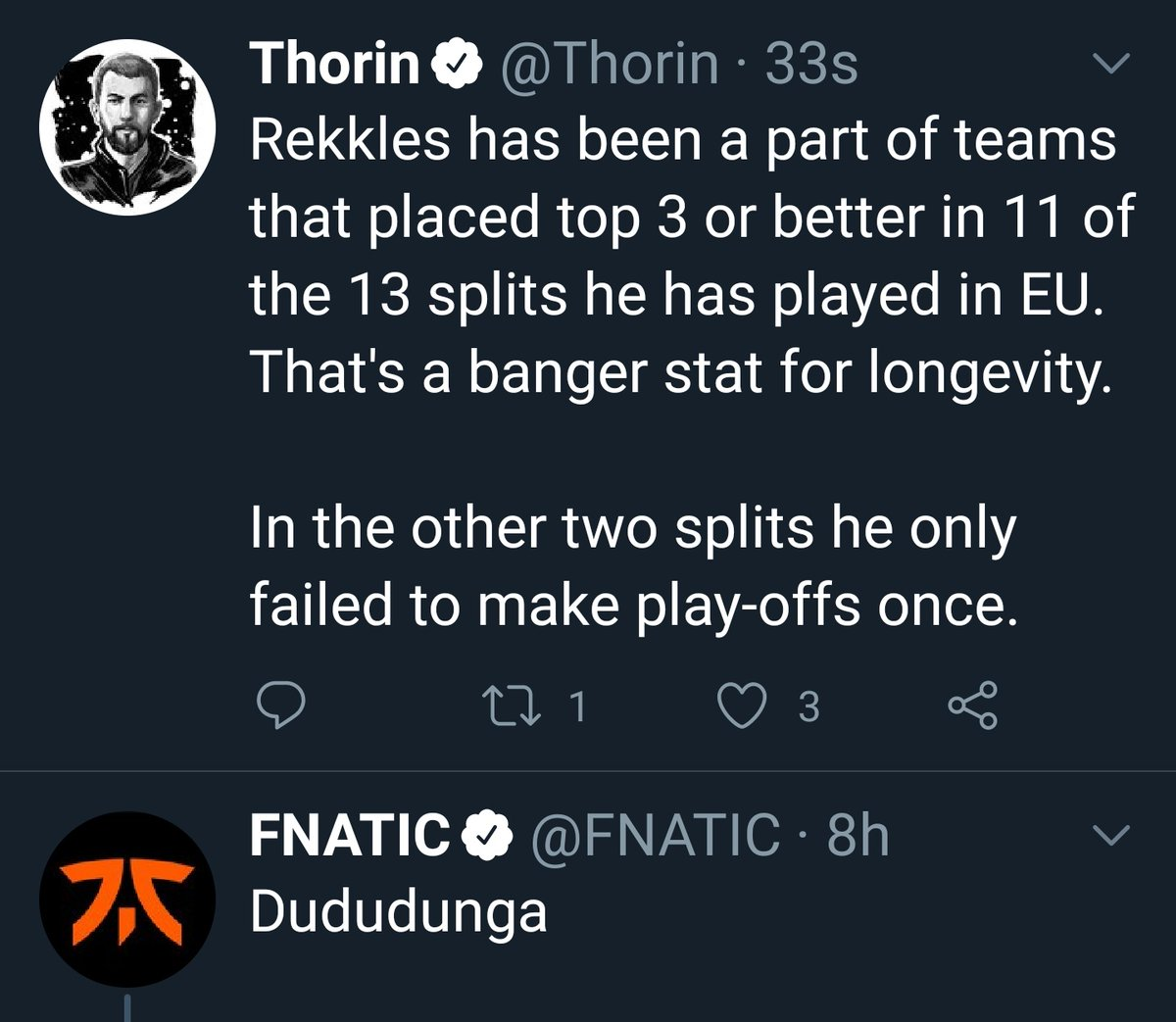 Thorin On Twitter Rekkles Has Been A Part Of Teams That Placed Top 3 Or Better In 11 Of The 13 Splits He Has Played In Eu That S A Banger Stat For I was voted esports journalist of the year for 2017 at the esports industry. thorin on twitter rekkles has been a