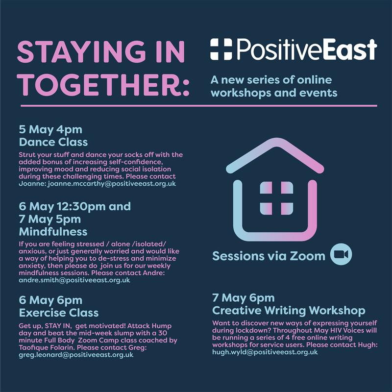 We have a full schedule of activities for next weeks Staying in Together programme ❤️ Including the launch of a 4 week creative writing workshop from @HIV_Voices, 2 mindfulness sessions, a dance class for women and a workout for all led by @TaofiqueFolarin Join us!