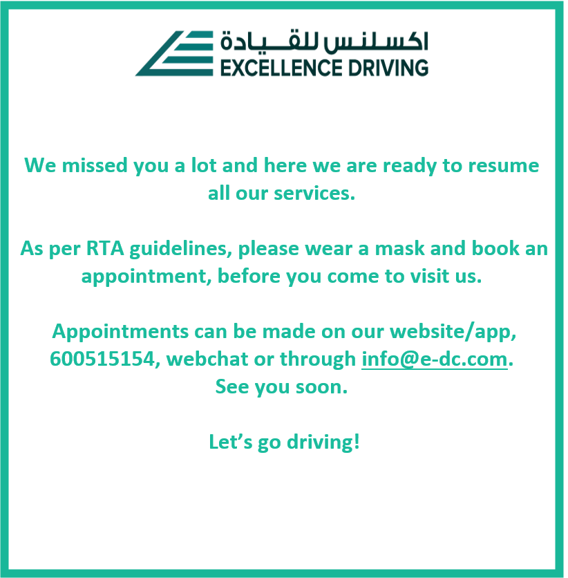 We are now open! We care about your safety and ask you to visit only by appointment. Appointments can be made on our website/app, 600515154, webchat or through info@e-dc.com. See you soon. #excellencedriving #open #appointments #byappointmentonly