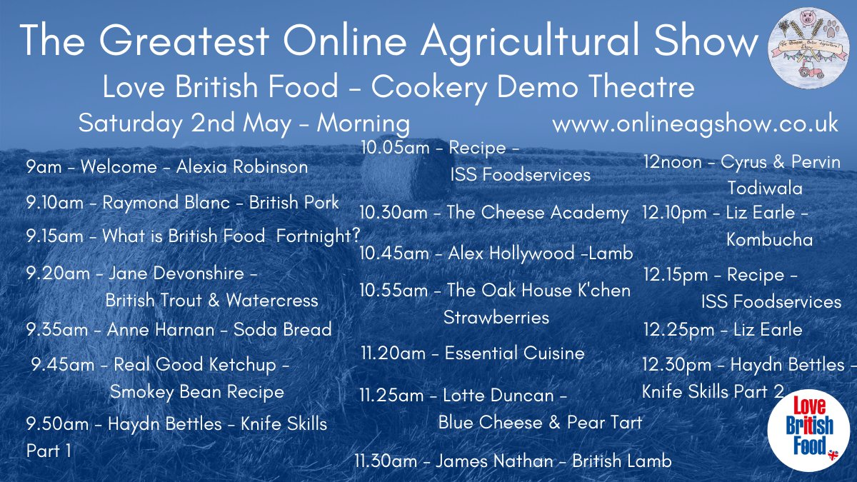 The @OnlineAgShow is open so make sure you visit the Love British Food & Drink Tent.  We have trade stands and 2 theatres - Cookery and Meet the Producer. For the full schedule of dems in both theatres go  https://t.co/kM4capApCz and to visit the show https://t.co/Oa7tS8zJU5 https://t.co/0hNrV9NN0a
