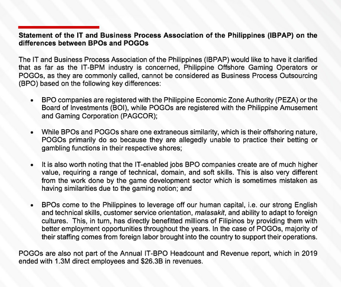POGOs Not Considered BPO - IT And Business Process Association