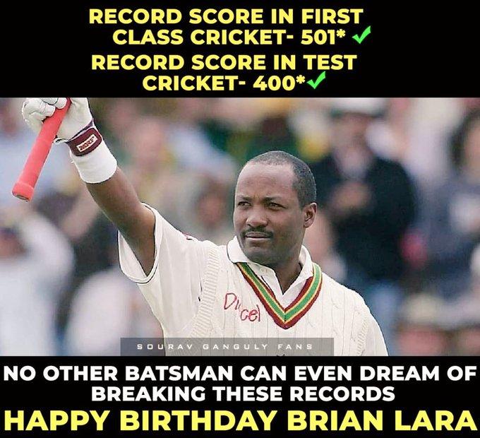 Wish u very very happy birthday sir brian lara