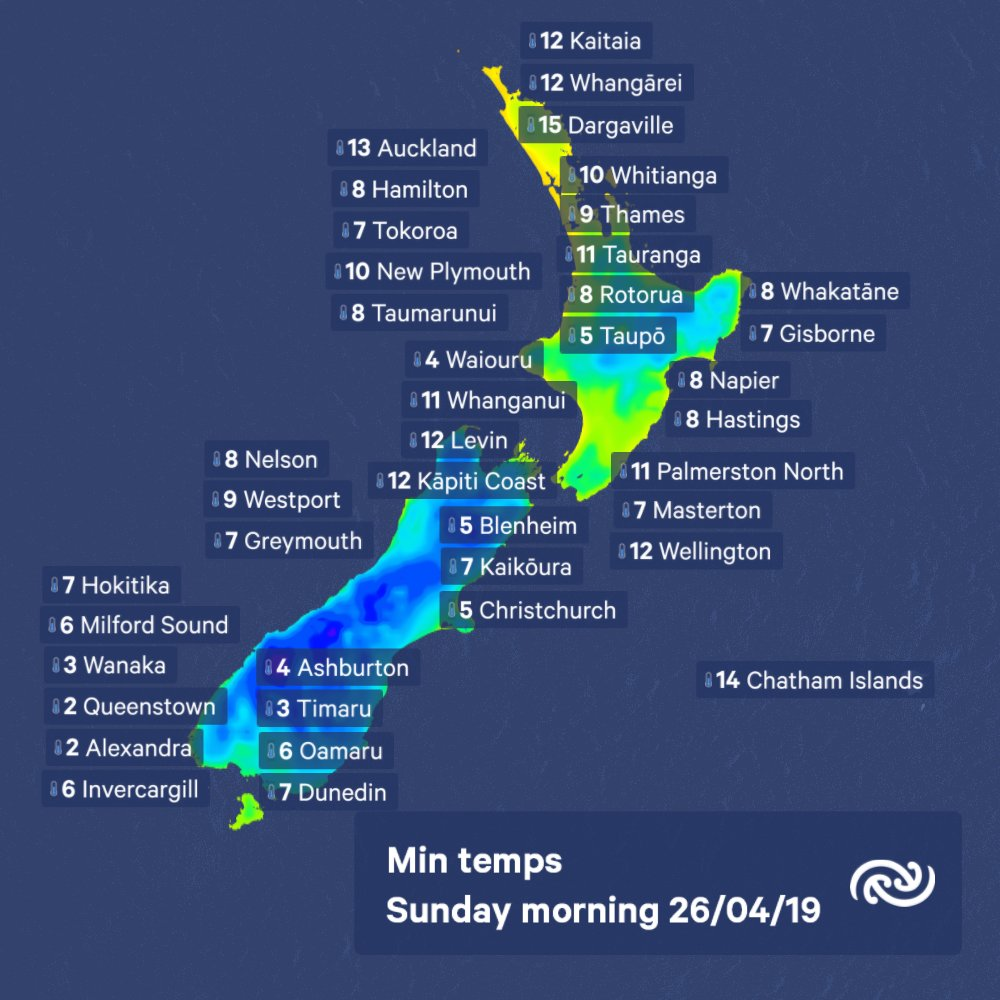 Not much cloud about tonight to blanket the country, so some chilly temps expected, especially in the south. Details at Metservice.com ^RK https://t.co/UfuneJM476