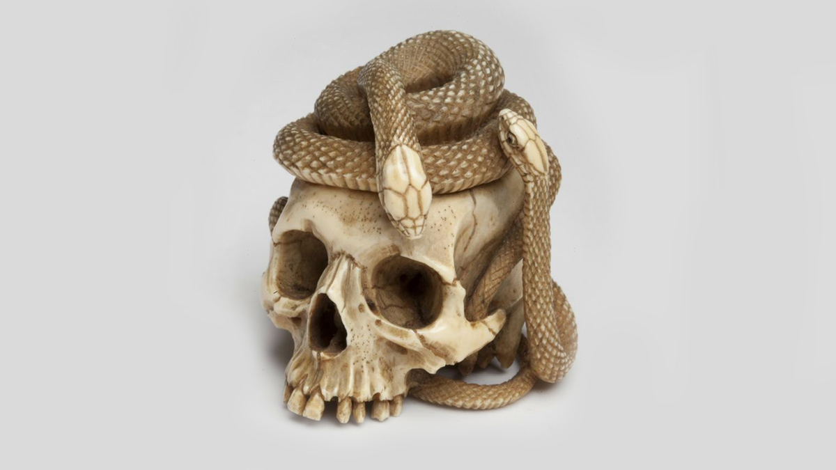 Entering the #CreepiestObject #CURATORBATTLE with our netsuke in the shape of a skull & two snakes! 🐍💀🐍 This tiny netsuke (just over 1 1/2 inches tall) was used in 19th-century Japan to secure a small box to the obi sash of a kimono. 👘 Perfect for that punk-rock vibe. 🤘😉 https://t.co/ewhY8pzzqW
