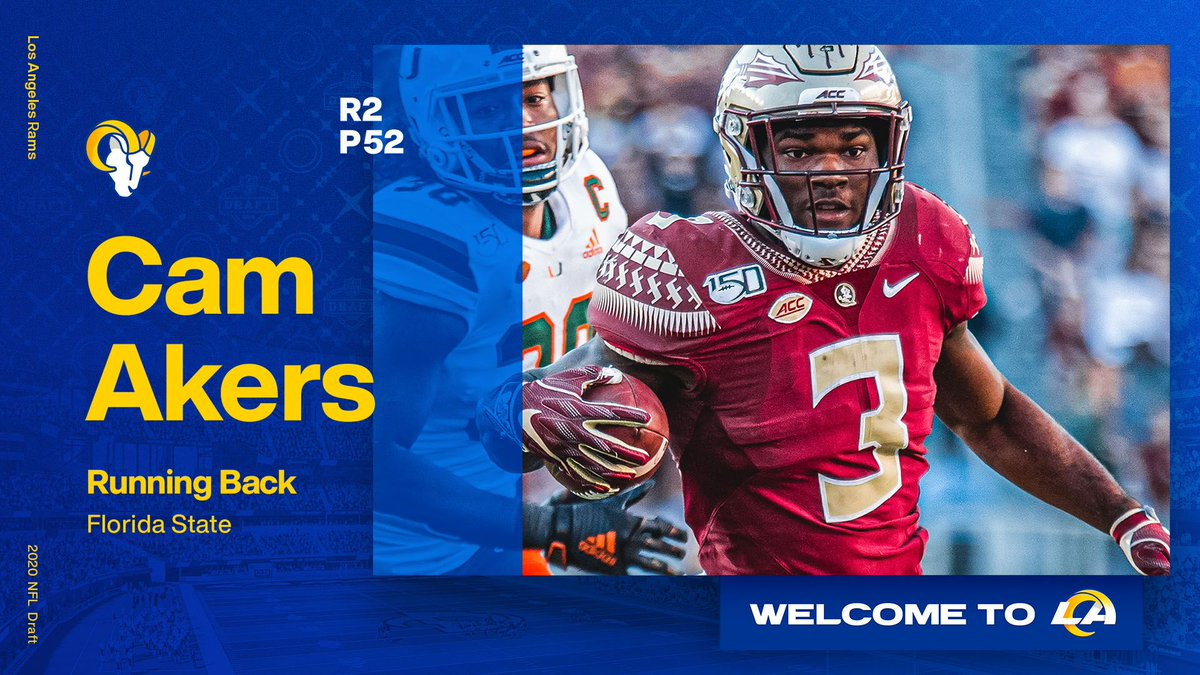 Let's run it, @thereal_cam3‼️  Welcome to Los Angeles, RB Cam Akers! https://t.co/INhGsWCrrE
