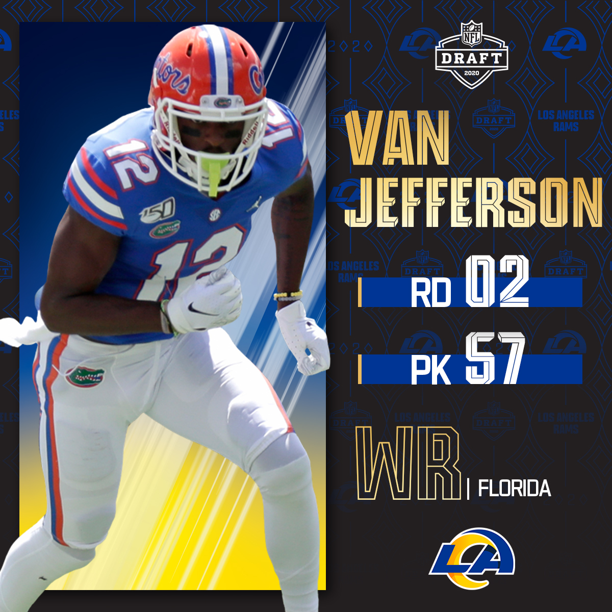 With the No. 57 overall pick, the @RamsNFL select @GatorsFB WR Van Jefferson! 📺: 2020 #NFLDraft on NFLN/ESPN/ABC 📱: bit.ly/2zrlHEG
